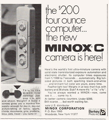 1969 Minox C Camera: Four Ounce Computer Vintage Print Ad