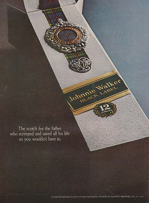 1969 Johnnie Walker Black Label: Father Who Scrimped and Saved Vintage Print Ad