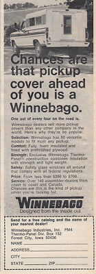 1970 Winnebago: Chances Are That Pickup Cover Ahead Of You Vintage Print Ad