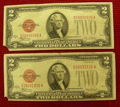 1928 F  $2 RED SEAL NOTE # D 58996000 A  and # D 38091836 A