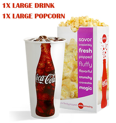 FAST DELIVERY! - AMC Theatres 1 LG Fountain Drink & 1 LG Popcorn Exp 6/30/20