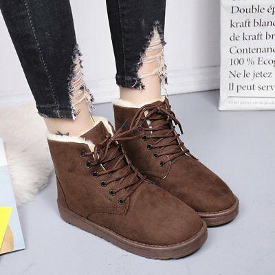 Women Ladies Winter Warm Fur Lined Flat Lace Up Snow Ankle Boots Shoes  0In