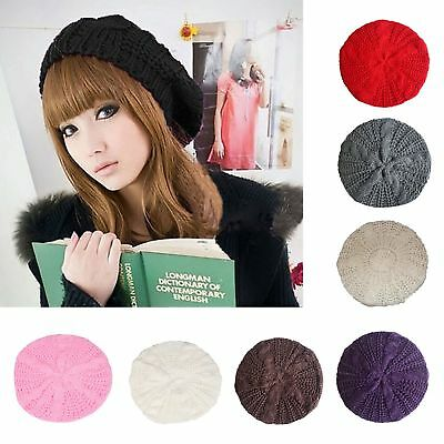 Woman Winter Warm Knitted Crochet Slouch Braided  Baggy Beret Beanie Hat Cap