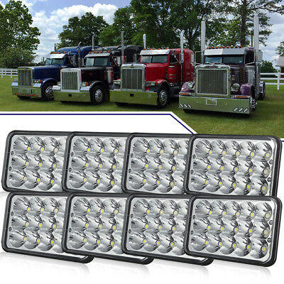 "8PCS 4X6"" LED Headlights Hi/Lo Light Bulbs Crystal Clear Sealed Beam Headlamp"