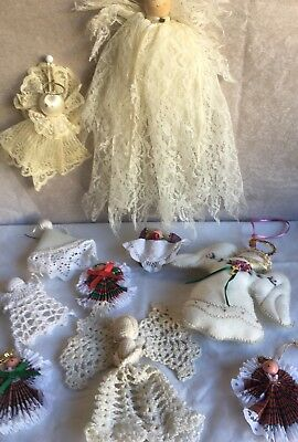 Christmas Angels Ornaments Lot Decor Handmade Lace 12 Assorted Sizes Angels