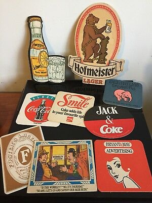 VINTAGE LOT BAR PUB COASTERS AUSTRALIA - COKE Bryant & May Schweppes Fosters