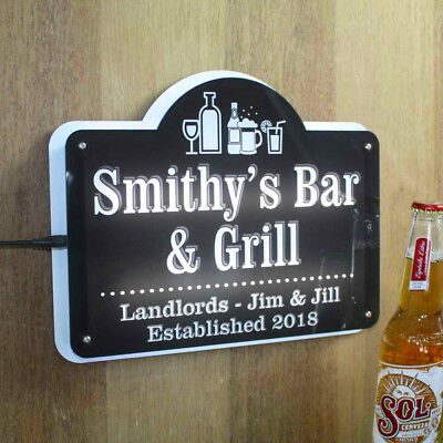Personalised Light up Home Bar Sign, Illuminated LED Pub Man Cave Gin Bar Sign