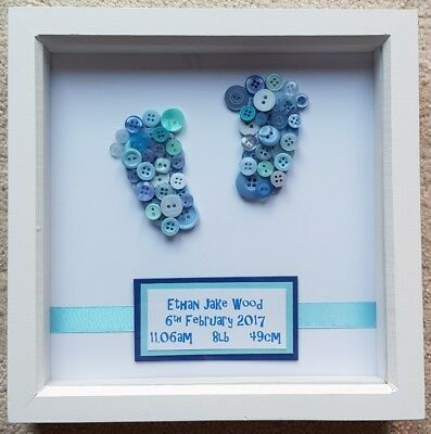 Personalised button picture frame - baby / mum / dad / birthday / anniversary
