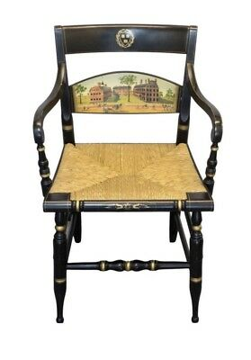 Ebonized and Gilt Rush Seat chair, Presented to Sir Colin Corness of Harvard Uni