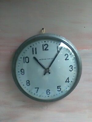 Vintage Factory Wall Clock.Industrial Metal Wall Clock.Upcycled Decor.1970s