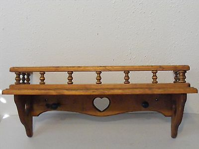 """Vtg wood wall hanging shelf 23.5""""x8.5"""" cut out heart plate groove rail pegs"""