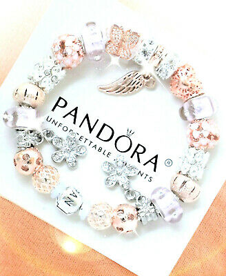 Pandora Bracelet Silver with Angel Wing Rose Gold Pink European Charms New