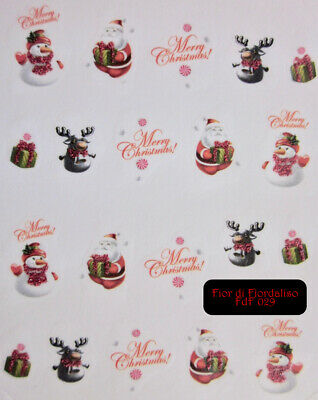 NATALE GLITTER POWDER CHRISTMAS adesivi unghie tattoo Stickers nail art decals