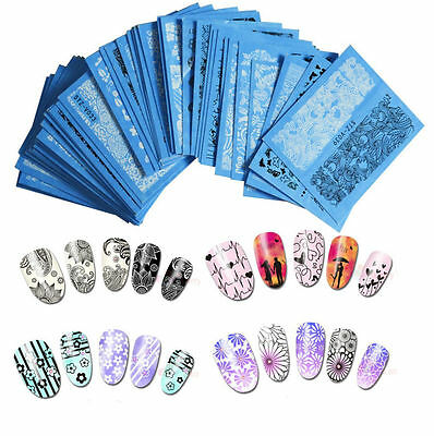 manicure pizzo Black White adesivi unghie tattoo Stickers water nail art decals