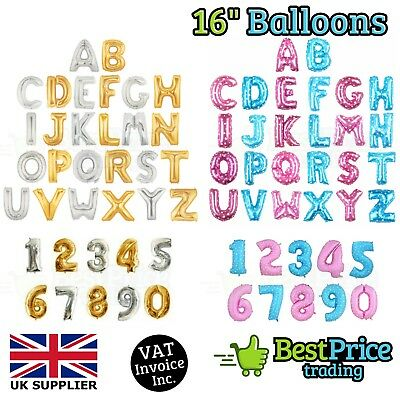 "16"" Gold, Silver, Blue & Pink Alphabet Letter Number Foil Balloons *NAME *PARTY"