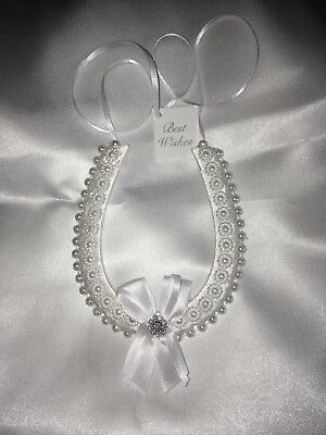 Horseshoe Wedding Charm with Pearls and Diamante