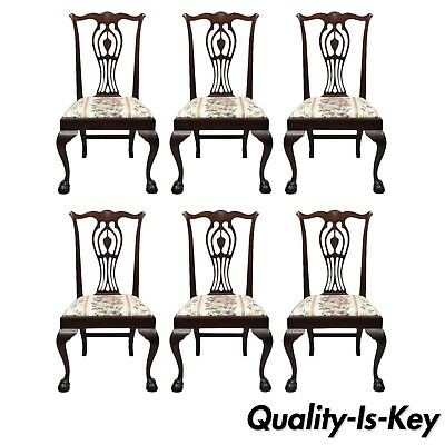 6 Bench Made Carved Mahogany Chippendale Style Ball and Claw Dining Chair Set
