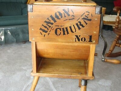 "Very Nice ""usable"" Made Of Wood Union Churn No. One With Nice Graphics"