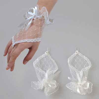 Gloves - White Lace Bridal Wedding Party Halloween Fingerles FROM UK