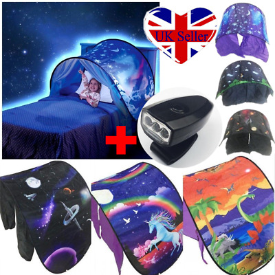 Kids Foldable Dream Tents + Light Set Unicorn Space Pop up Indoor Bed House Gift