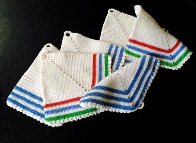 Vintage Potholders Hand Crocheted Blue Green Red Striped Farmhouse Lot of 6