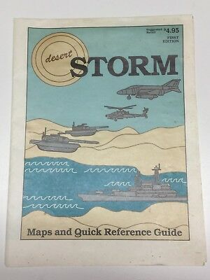 Vintage Desert Storm Persian Gulf War Map Quick Reference Guide 1st Edition USA