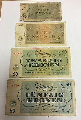 Set Of 4 1943 Czech Theresienstadt Concentration Camp Notes 50 20 5 1 Kronen