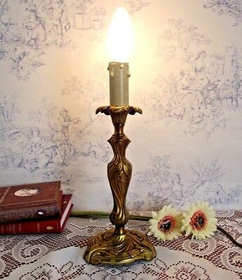 Beautiful Vintage French Brass Sweeping Acanthus Leaf Candle Stick Lamp 652