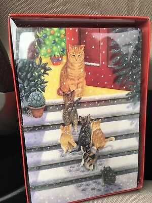 Christmas Greetings Cards 18 Boxed Set - Cat Mom With Her Kittens On Stairs- New