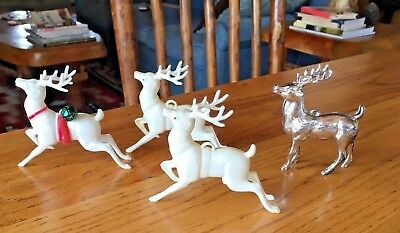 1950's VINTAGE LOT OF 4 HARD PLASTIC REINDEER CHRISTMAS ORNAMENTS