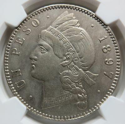 DOMINICAN Republic 1 peso 1897 A NGC AU Details Beautiful!