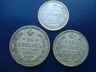 Russia set of 3 silver coins of 1912: 10, 15 & 20 kopeks