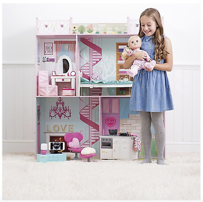 Sindy Girls Kids Doll Play House - Miniature Dolls Wooden Playset Christmas Toy