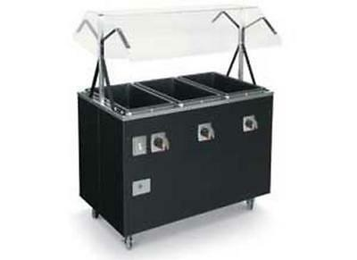 Vollrath T38707 3 Well Portable Hot Food Steam Table Solid Base Black
