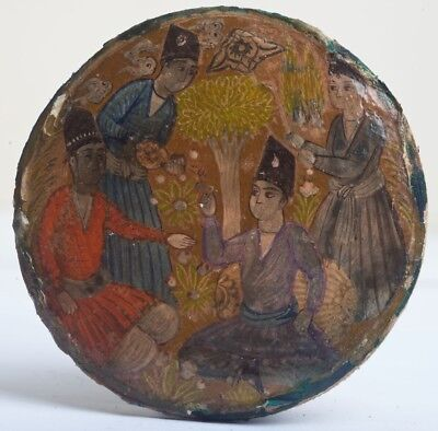 Indian/Persian Miniature Hand Painted Papier Mache Lacquered Box Lid Painting