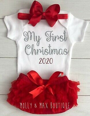 Luxury Baby Girls My 1st First Christmas Outfit Vest Tutu Knickers Photo Shoot