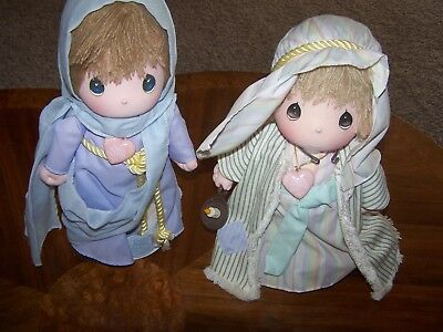 "Precious Moments Dolls (Joseph & Mary  13-14"" ) On Stands New"