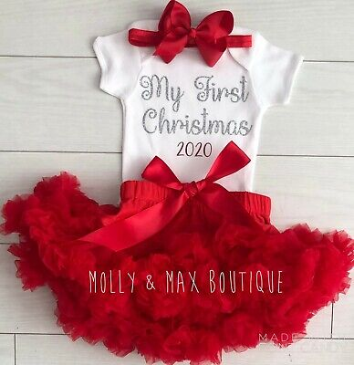 Luxury Baby Girls My 1st First Christmas Outfit Vest Tutu Skirt Photo Shoot Red