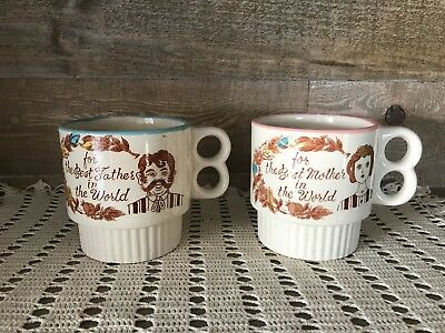 Set of Two Best Mother and Best Father Double Handled Coffee Mugs Vintage
