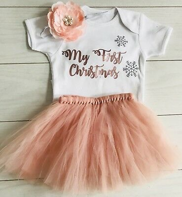 Luxury Girls My First 1st Christmas Blush Tutu Skirt Outfit Vintage Rose Gold