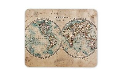 The World Hemispheres Map Mouse Mat Pad - Educational Cool Gift Computer #14392