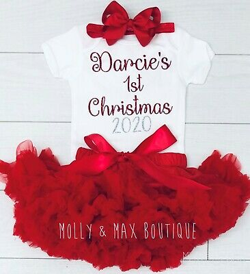 Personalised Luxury Baby Girls My 1st First Christmas Outfit Vest Tutu Skirt Red