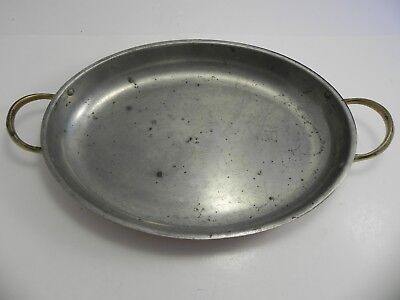 """Vintage Tagus Chef Copper Au Gratin Pan with Brass Handles 15"""" Made in Portugal"""