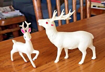 Antique Celluloid Reindeer Figures, Old Pre-war Christmas Reindeer