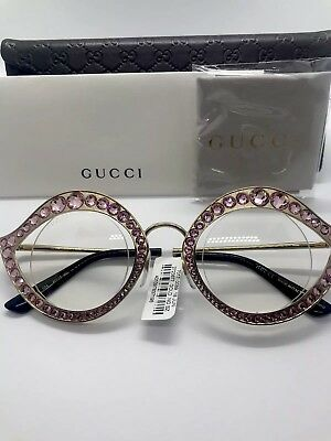 1bac52f1e7e3 NEW GUCCI CAT EYE LIPS GOLD PINK CRYSTAL SUNGLASSES GG0046S w/CASE - ITALY