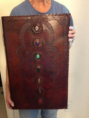 HUGE Handmade Leather 7 Chakra Stone Book of Shadows Coven Art Book Journal