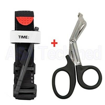 One Hand CAT Tourniquet Combat Application First Aid Handed + Free Trauma Shear