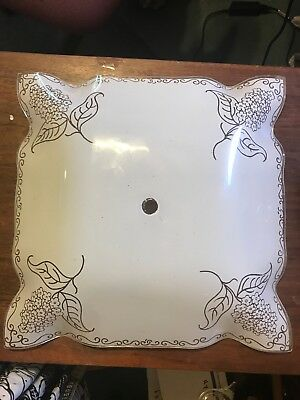 Vintage Square Frosted Glass Ruffle Floral Ceiling Light Shade Cover 11 1/4""