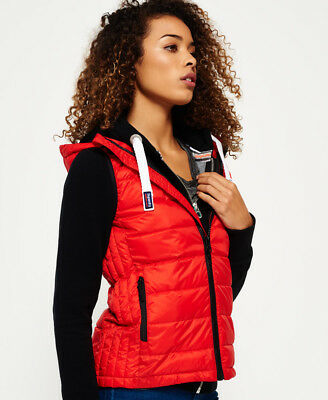 Superdry Mujer Chaleco Core Luxe Rojo