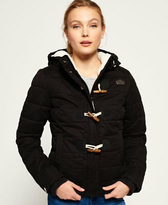 Superdry Mujer Cazadora Microfibre Toggle Puffer Negro